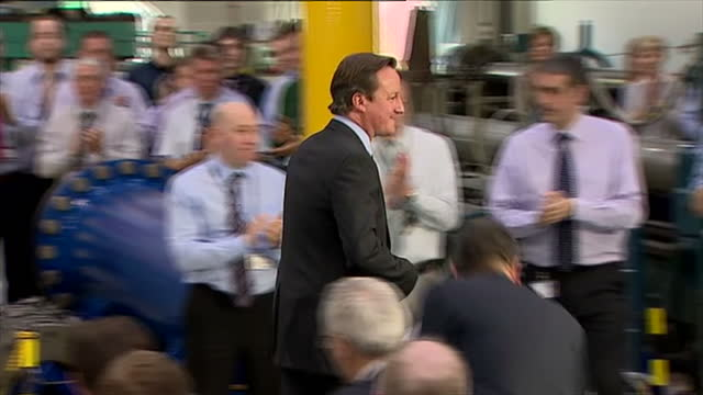 Interior shots of David Cameron walking off after speech to workers at Thales engineering works David Cameron visits Thales factory on April 04 2013...