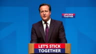 Interior shots of David Cameron's emotional speech to the People of Scotland saying 'Please Please don't let anyone tell you can't be a proud Scot...