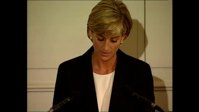 Interior shots of Diana Princess of Wales giving a speech at the Royal Geographical Society on the use of landmines after her trip to Angola on June...
