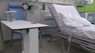 CLEAN Interior Shots of empty messy NHS Hospital Bed in Hospital Ward on April 05 2014 in Salford England