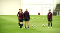 interior shots of England Women's Football team training in an indoor pitch at St Georges Park on day of Prince William's Visit on May 20 2015 in...