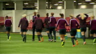 interior shots of England Women's Football team training on astro turf at St Georges Park on day of Prince William's Visit on May 20 2015 in...