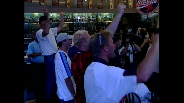 Interior shots of English Football fans reactions as they watch England versus Argentina during the FIFA 1998 World Cup on June 30 1998 in...