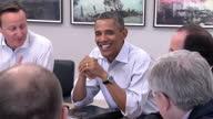 Interior shots of G8 world leaders talking during round table meeting David Cameron Barack Obama Francois Hollande Enrico Letta Herman Van Rompuy...