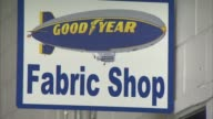 Interior shots of Goodyear's Zeppelin Airdock in Akron Ohio Shots of different department signage including 'FABRIC SHOP' 'CREW LOUNGE' 'FLIGHT...
