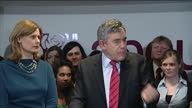 Interior shots of Gordon Brown making a speech to Labour Party members thanking them for their hard work after losing the 2010 General Election with...