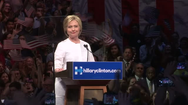 Interior shots of Hillary Clinton addressing supporters at a victory rally in Brooklyn announcing that 'For the first time ever a woman will be a...