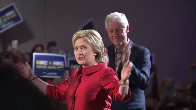 Interior shots of Hillary Clinton and husband Bill on stage in Las Vegas taking applause from supporters after she won the caucus on February 20 2016...