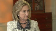 Interior shots of Hillary Clinton US Secretary of State speaking to Sky News presenter Kay Burley about Libya Hillary Clinton speaking about Libya on...