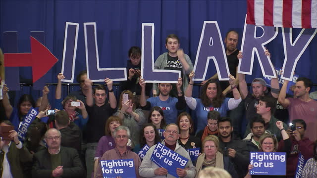 Interior shots of Hillary Clinton's concession speech at the New Hampshire primaries on February 7 2016 in Hooksett New Hampshire