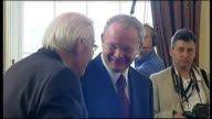 Interior shots of Ian Pisley and Martin McGuiness meeting with each other in office and sharing joke and smiling together on May 8 2007 in Belfast...