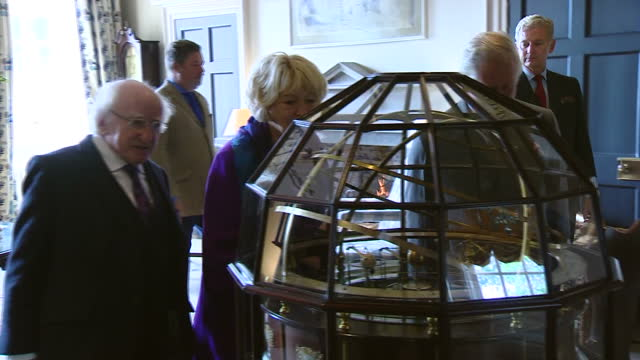 Interior shots of Irish President Michael D Higgins and wife Sabina Coyne being shown round Dumfries House by Prince Charles and Camilla Duchess of...