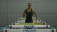 Interior shots of Jessica Ennis training with hurdles long jump at the English Institute of Sport in Sheffield Jessica Ennis Training in Sheffield on...