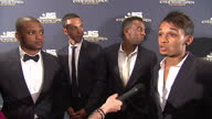 Interior shots of JLS band members Aston Merrygold Marvin Humes Oritse Williams and JB Gill giving an interview at 'Eyes Wide Open' premiere at The...