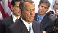 Interior shots of John Boehner Speaker of the House of Representatives speaking to the press about making a decision on the nation'ns debt ceiling at...