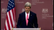 Interior shots of John Kerry giving press conference at UK Foreign Commonwealth Office and talks about special relationship between UK and USA and...