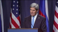 Interior shots of John Kerry US Secretary of State speaking at a press conference to discuss resolutions for the chemical weapons used in Syria Sergi...
