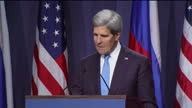 Interior shots of John Kerry US Secretary of State speaking at a press conference to discuss resolutions for the chemical weapons used in Syria...