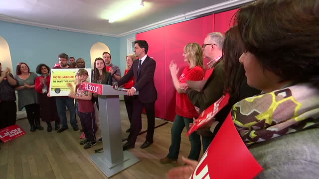 Interior shots of Labour leader Ed Miliband walking into a room full of Labour supporters in Stevenage and giving a speech to applause on April 25...