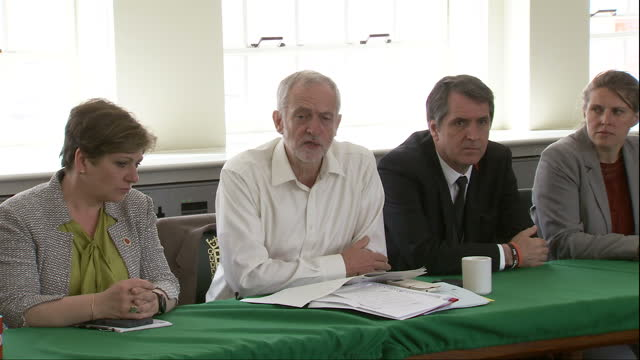 Interior shots of Labour leader Jeremy Corbyn addressing members of the Shadow Cabinet including many newly appointed members following the recent...