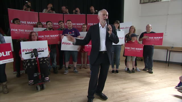 Interior shots of Labour Leader Jeremy Corbyn campaigning in the general election and speaking to supporters at rally on 3rd June 2017 Broxtowe...