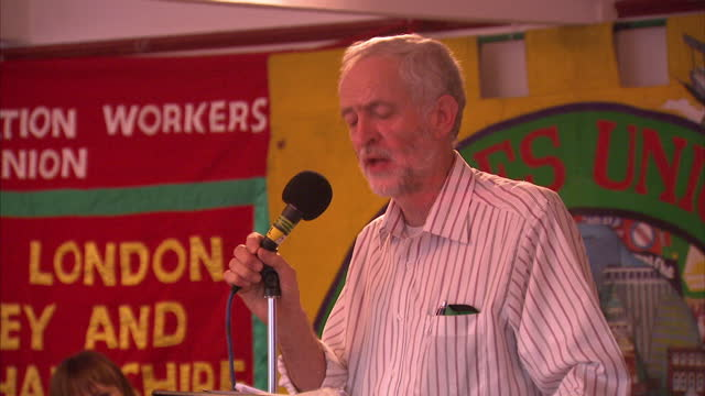 Interior shots of Labour MP Jeremy Corbyn delivering a speech at a Labour Party leadership rally on August 4 2015 in Croydon England