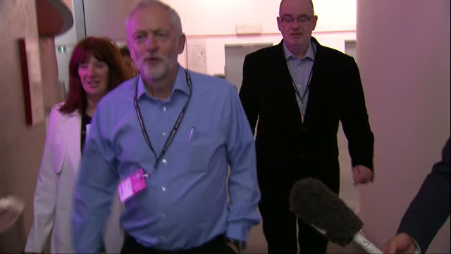 Interior shots of Labour MPs arriving at and departing the National Executive Committee meeting at the Labour Party Conference including Tom Watson...