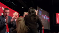 Interior shots of Labour Party Leader Jeremy Corbyn MP applauding after speech and giving thumbs up and joined on stage by fellow Labour politicians...