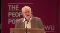 Interior shots of Labour party leader Jeremy Corbyn speaking at a Communication Workers Union rally at Manchester Cathedral saying that Labour can...