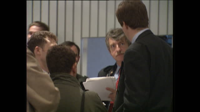 Interior shots of Labour Party spin doctor Alastair Campbell chatting with delegates at the Labour Party Conference on October 1 1996 in Blackpool...