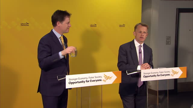 Interior shots of Liberal Democrat leader Nick Clegg and David Laws speaking at a press conference in the QE2 Centre on April 12 2015 in London...