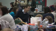 Interior shots of Liberal Democrat leader Nick Clegg and Jo Swinson visiting a children's soft play area in Dunbartonshire and meeting staff parents...