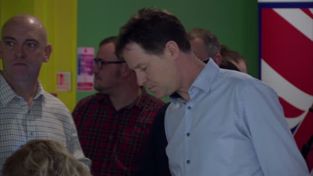 Interior shots of Liberal Democrat leader Nick Clegg bowling at a Colchester bowling alley on April 12 2015 in Colchester England