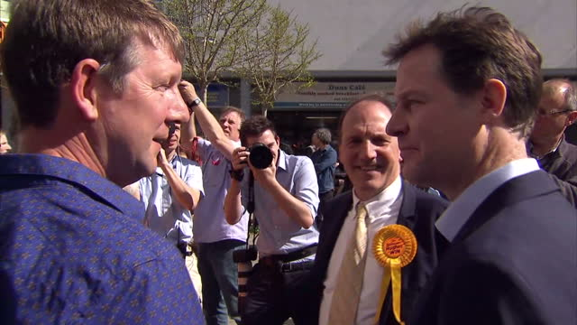 Interior shots of Liberal Democrat Leader Nick Clegg meeting Supporters and helpers inside Simon Hughes Election Campaign Office on April 14 2015 in...