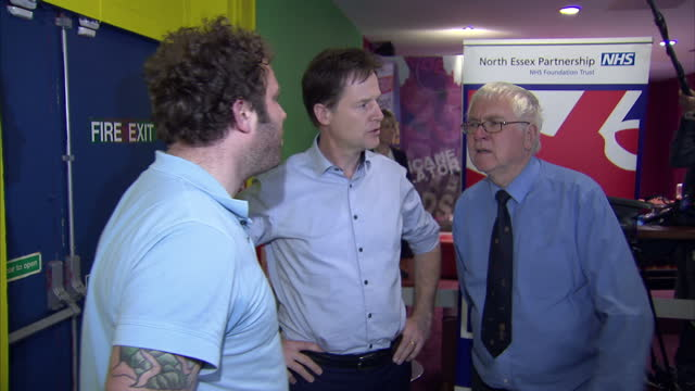 Interior shots of Liberal Democrat leader Nick Clegg meeting electorate at a Colchester bowling alley on April 12 2015 in Colchester England