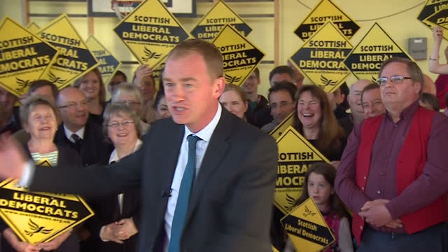Interior shots of Liberal Democrat leader Tim Farron addressing supporters at a campaign rally on May 08 2017 in Edinburgh Scotland