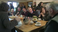 Interior shots of Liberal Democrat leader Tim Farron discussing Brexit and agricultural issues with members of the local farming community during a...
