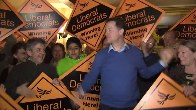 Interior shots of Liberal Democrats leader Nick Clegg addressing Lib Dem supporters at the Norfolk Arms Hotel opening with a pub quiz style of...