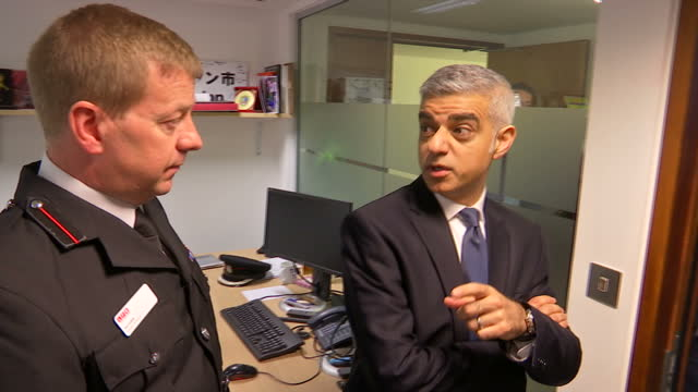 Interior shots of London Mayor Sadiq Khan visiting London Fire Brigade officers on a tour of their headquarters on 24 March 2017 in London United...