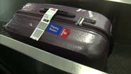 Interior shots of luggage moving along conveyor belt at the check in desk at Newcastle International Airport on December 22 2016 in NewcastleuponTyne...