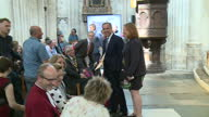 Interior shots of Mark Carney Governor of the Bank of England speaking to guests at Winchester Cathedral following the launch of the new polymer ten...