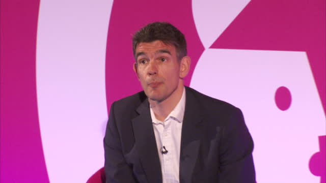 Interior shots of Matt Brittin President of Google for Europe the Middle East and Africa speaking during an advertising industry seminar answering a...
