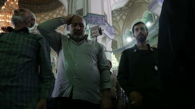 Interior shots of men in a conservative Tehran mosque praying on July 29 2016 in Tehran Iran