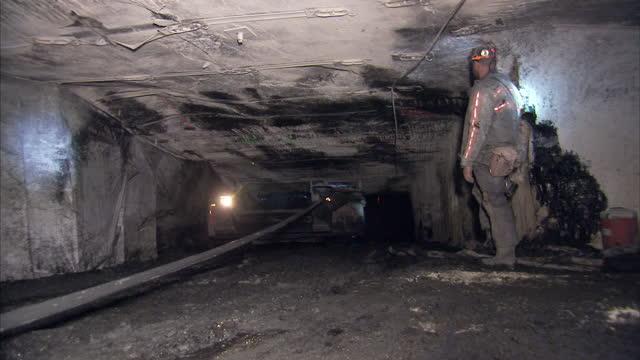 Interior shots of mining equipment excavating coal in a coal mine on 20 April 2017 in Hazard Kentucky