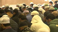 Interior shots of muslim men at prayer inside Leeds Mosque at Friday prayers on January 30 2015 in London England
