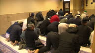 Interior shots of Muslims praying inside Mosque on February 07 2016 in Leeds England