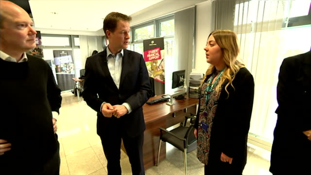 Interior shots of Nick Clegg visiting MidKent College whilst on the campaign trail for the general election speaking to staff in reception on April...