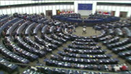 Interior shots of Nigel Farage MEP speaking in the European Parliament get told off by Antonio Tajani after comparing the EU to the mafia on April 05...