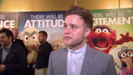 Interior shots of Olly Murs giving an interview at The Muppets premiere at The Mayfair Hotel on January 26 2012 in London England
