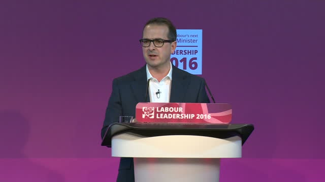 Interior shots of Owen Smith MP speaking during a debate for the Labour leadership debate re the Labour party didn't do enough to campaign against...